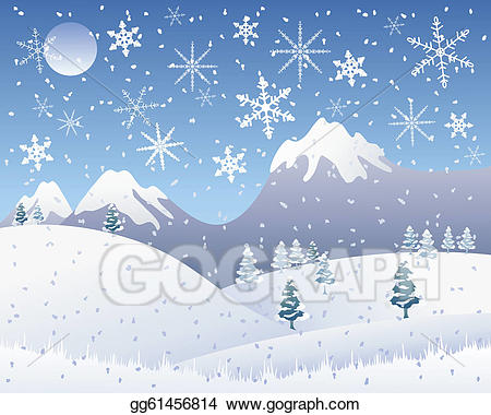 Christmas clipart landscape. Vector art snow scene