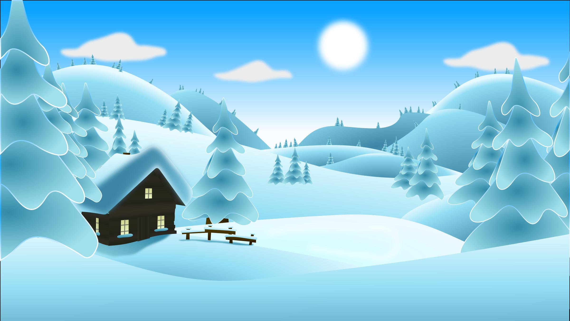 Clipart winter day. Landscape no snowman icons