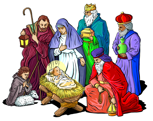 Pin on . Nativity clipart religious christmas card