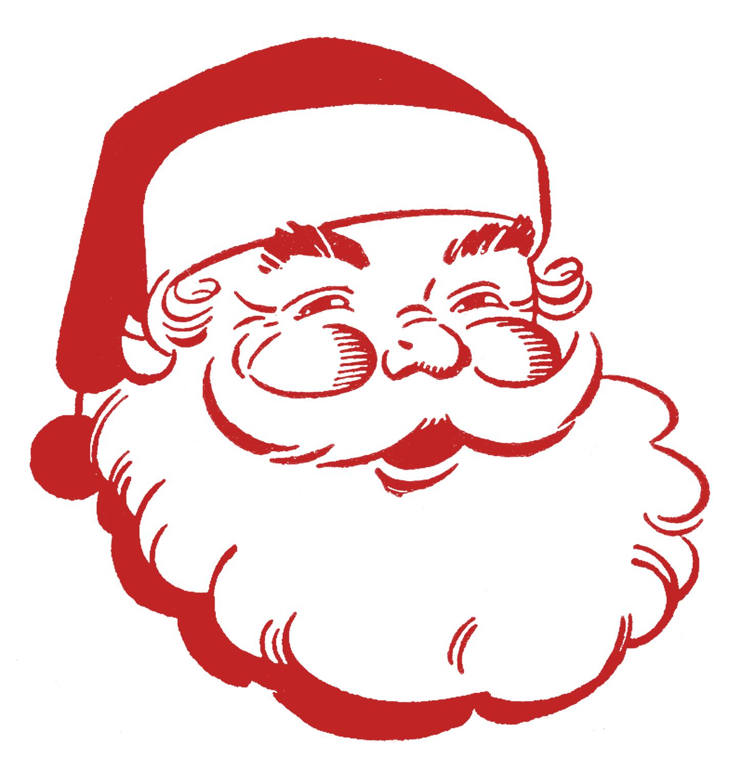 Retro christmas clip art. Santa clipart