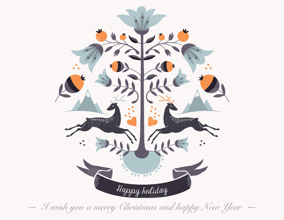Christmas clipart symbol. Hipster greeting card poster