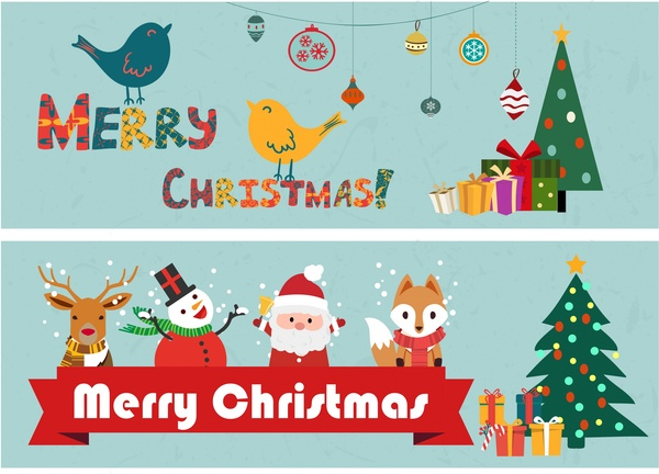 Christmas clipart symbol. Banners classical design and