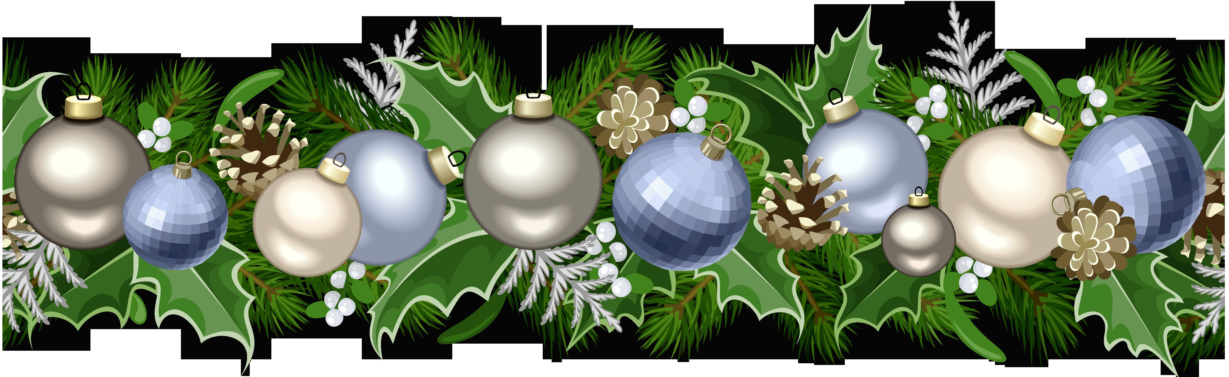 Christmas garland border png. Ornament clip art deco