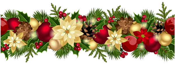 Christmas holly border png. Decorative garland clipart picture