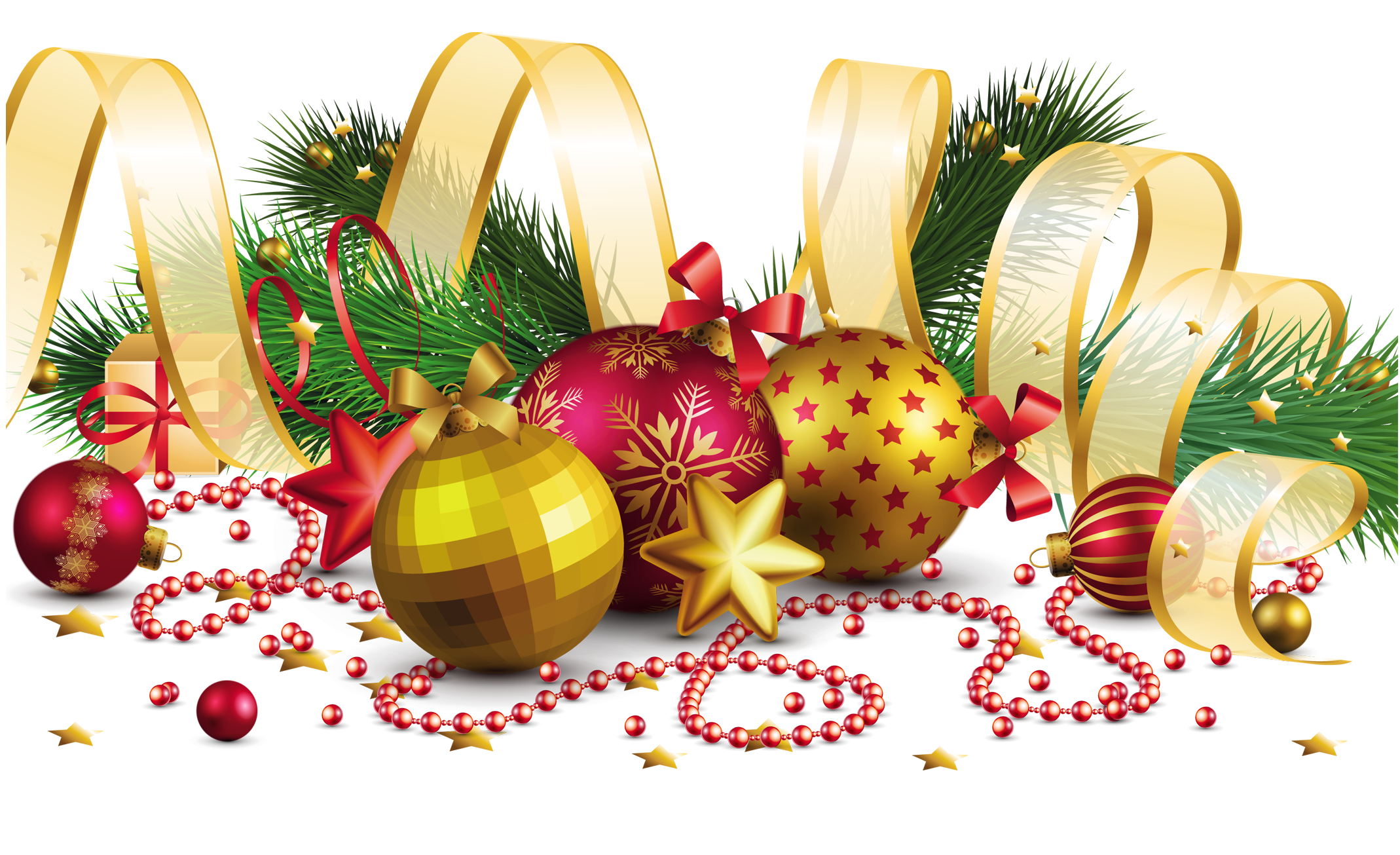 Christmas png images. Transparent decoration with gold