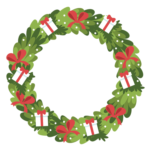Christmas wreath vector png. Gift boxes red bows