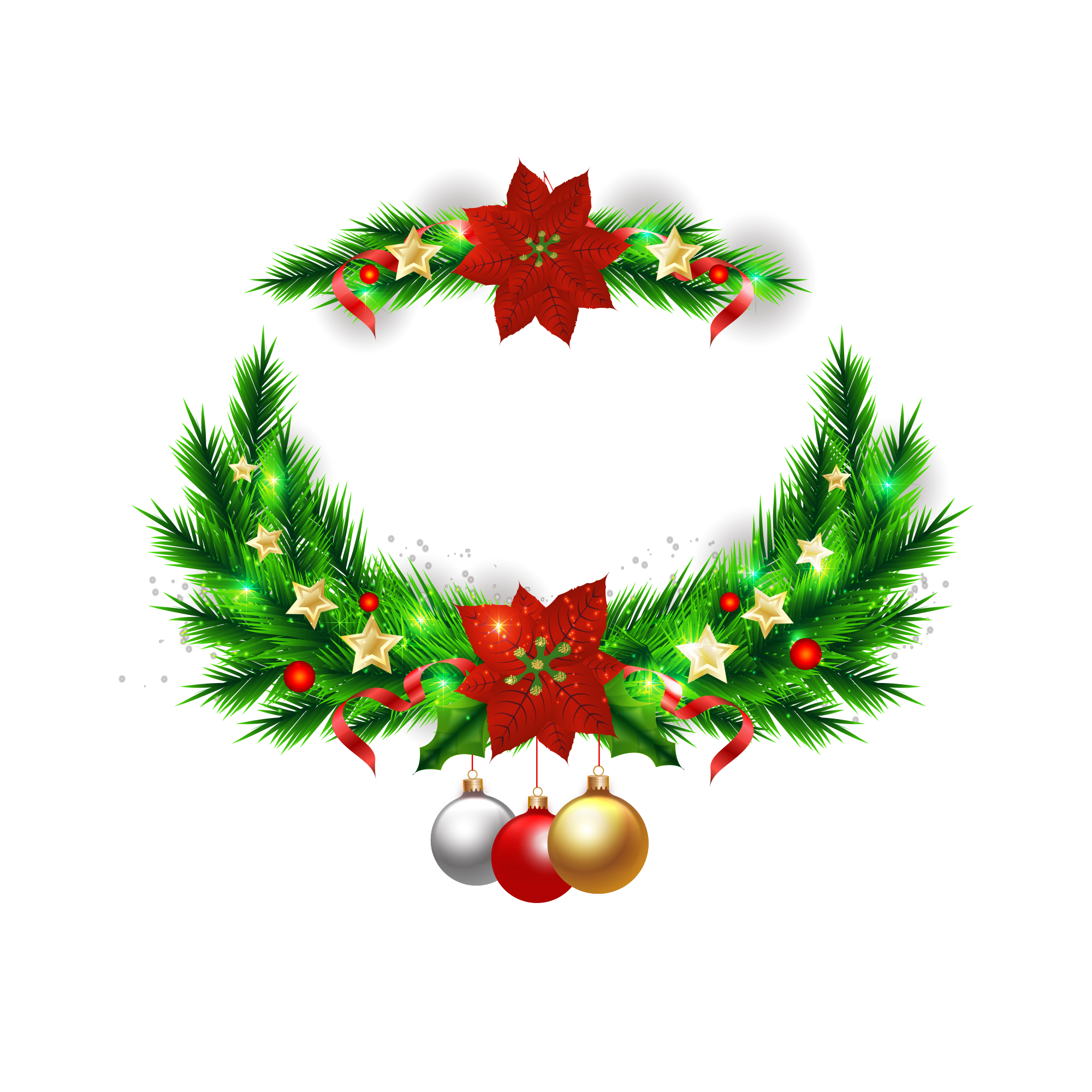 Tree ornament elements transprent. Christmas wreath vector png