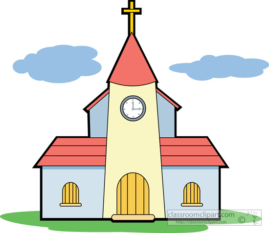 Christian with cross station. Clipart church