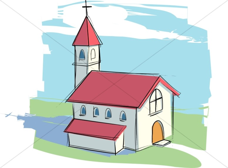 Clipart church. Country with rural landscape