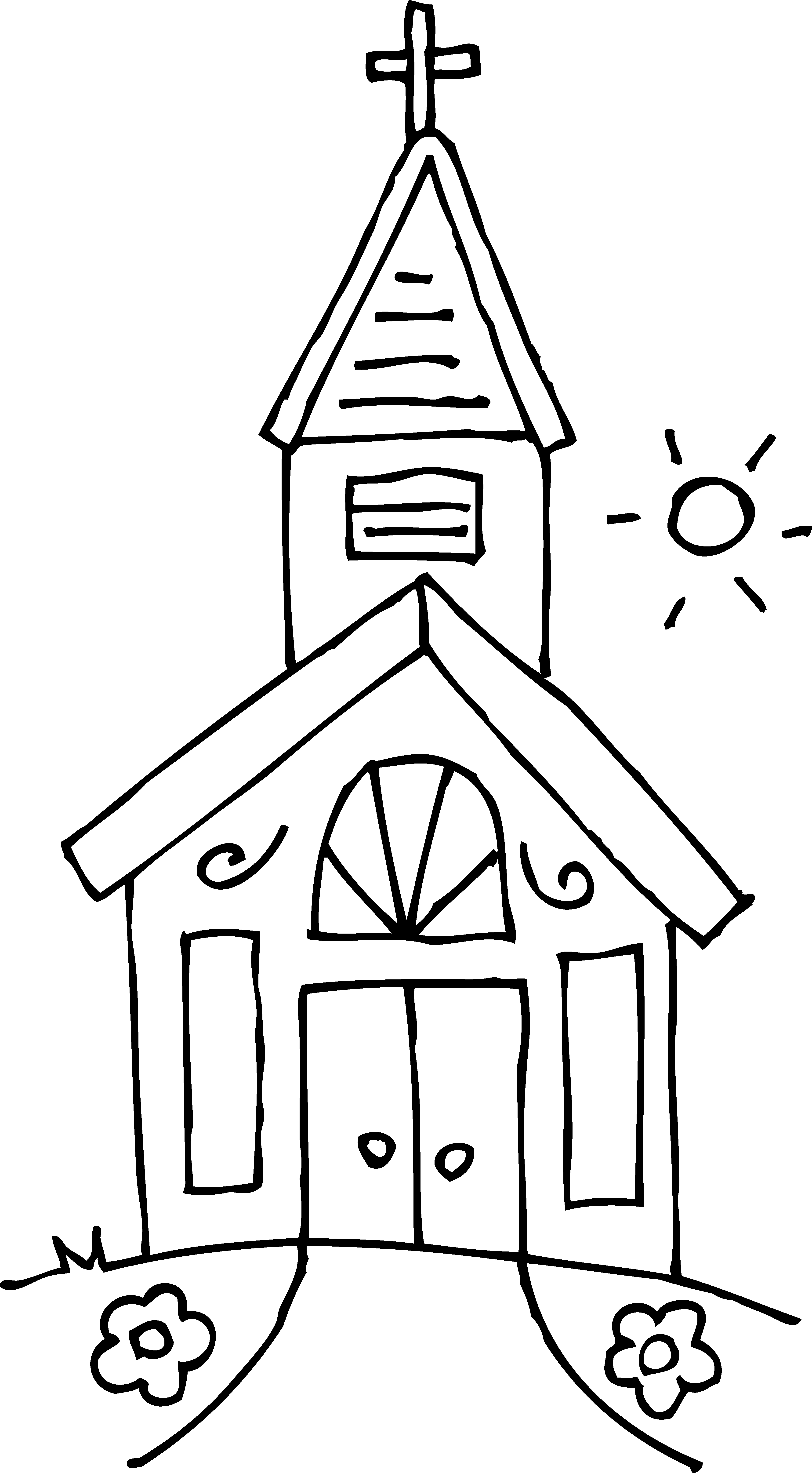 Black and white church. Motorcycle clipart coloring page