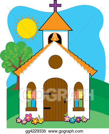 Stock illustration small gg. Church clipart country church