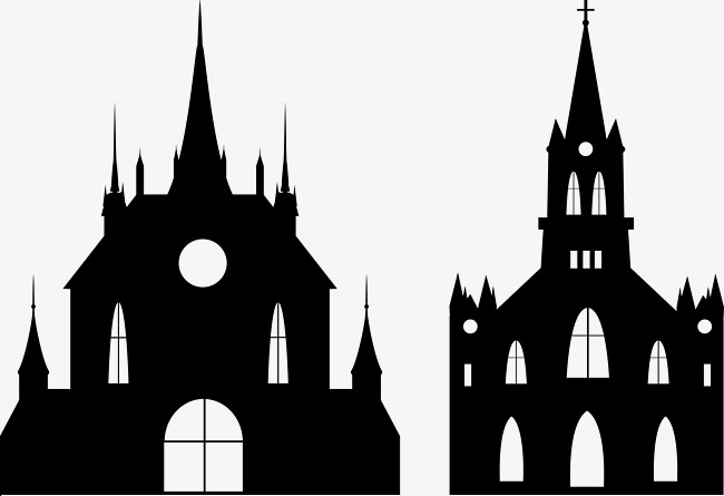 Black vector png and. Church clipart gothic church