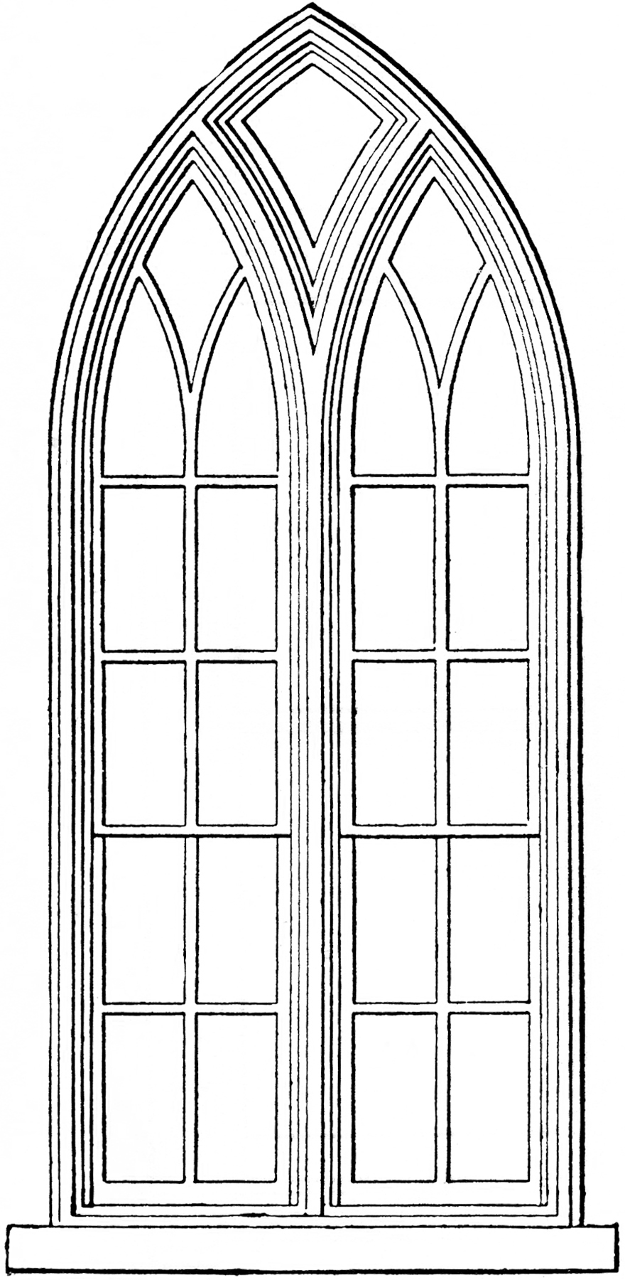 Gothic church windows clip. Win clipart french window