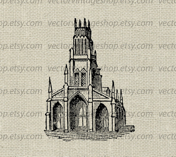 Church clipart gothic church. Vector graphic commercial use