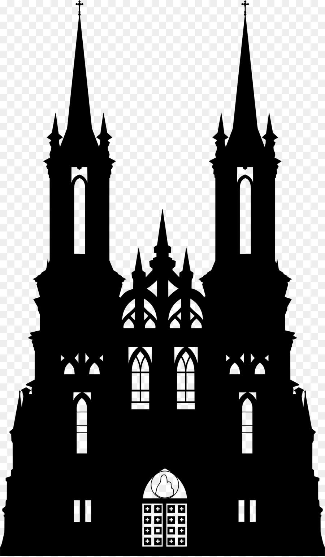 Silhouette clip art png. Church clipart gothic church