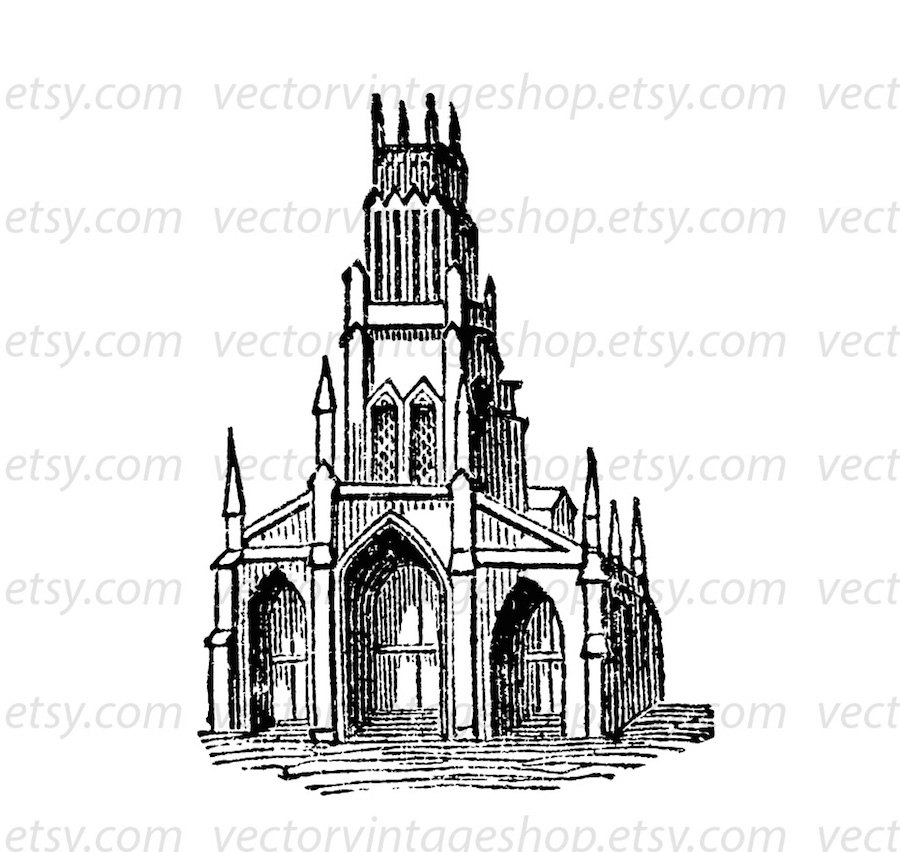 Church clipart medieval church. Vector graphic commercial use