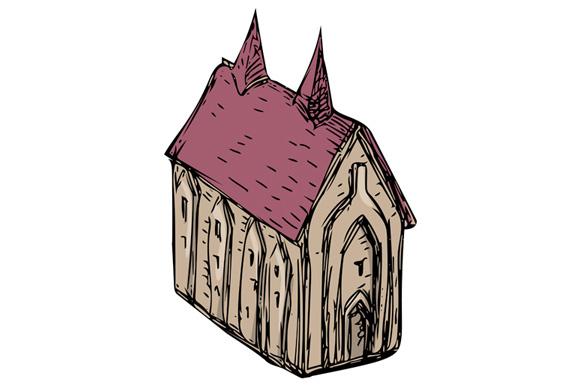 Church clipart medieval church. Drawing by patrimonio design