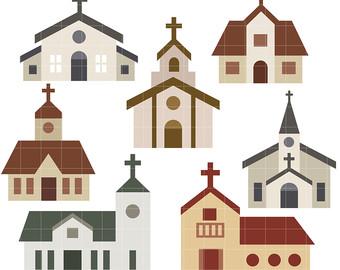 Religion etsy churches digital. Church clipart medieval church