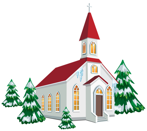 Winter with snow trees. Keys clipart church