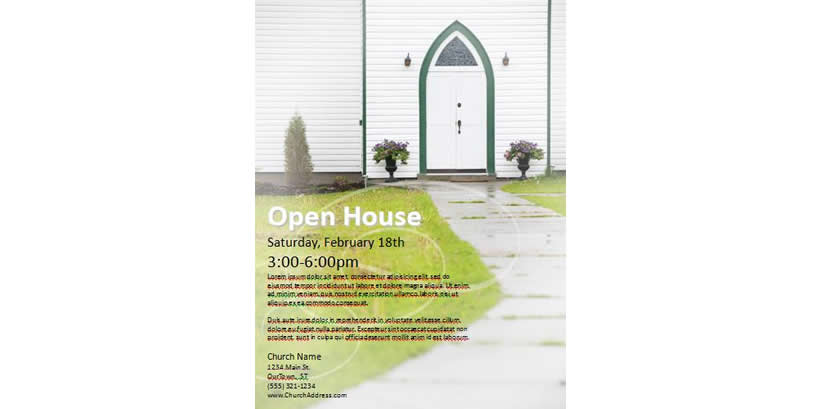 Church clipart open house. Find templates for marketing