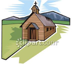 Church clipart simple. A in green field