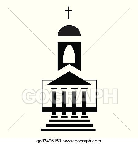 Vector icon in style. Church clipart simple