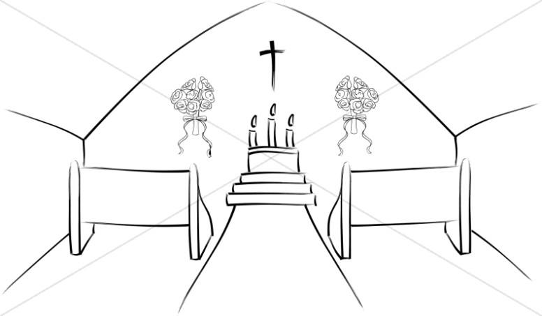 Inside scene sanctuary. Church clipart simple