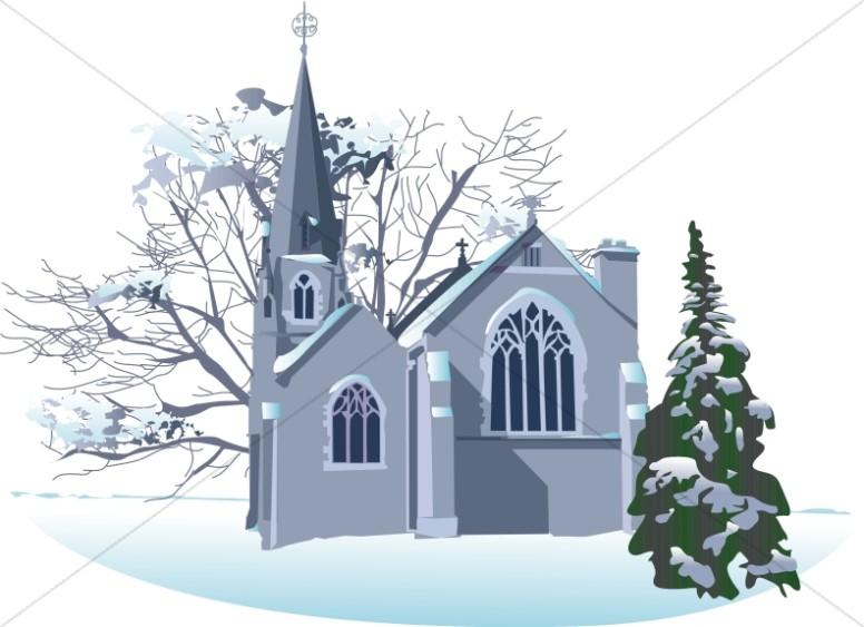 Snowy. Clipart church winter