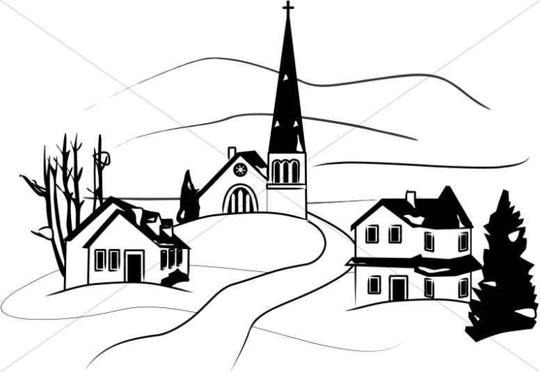 Winter clipart town. Little in church