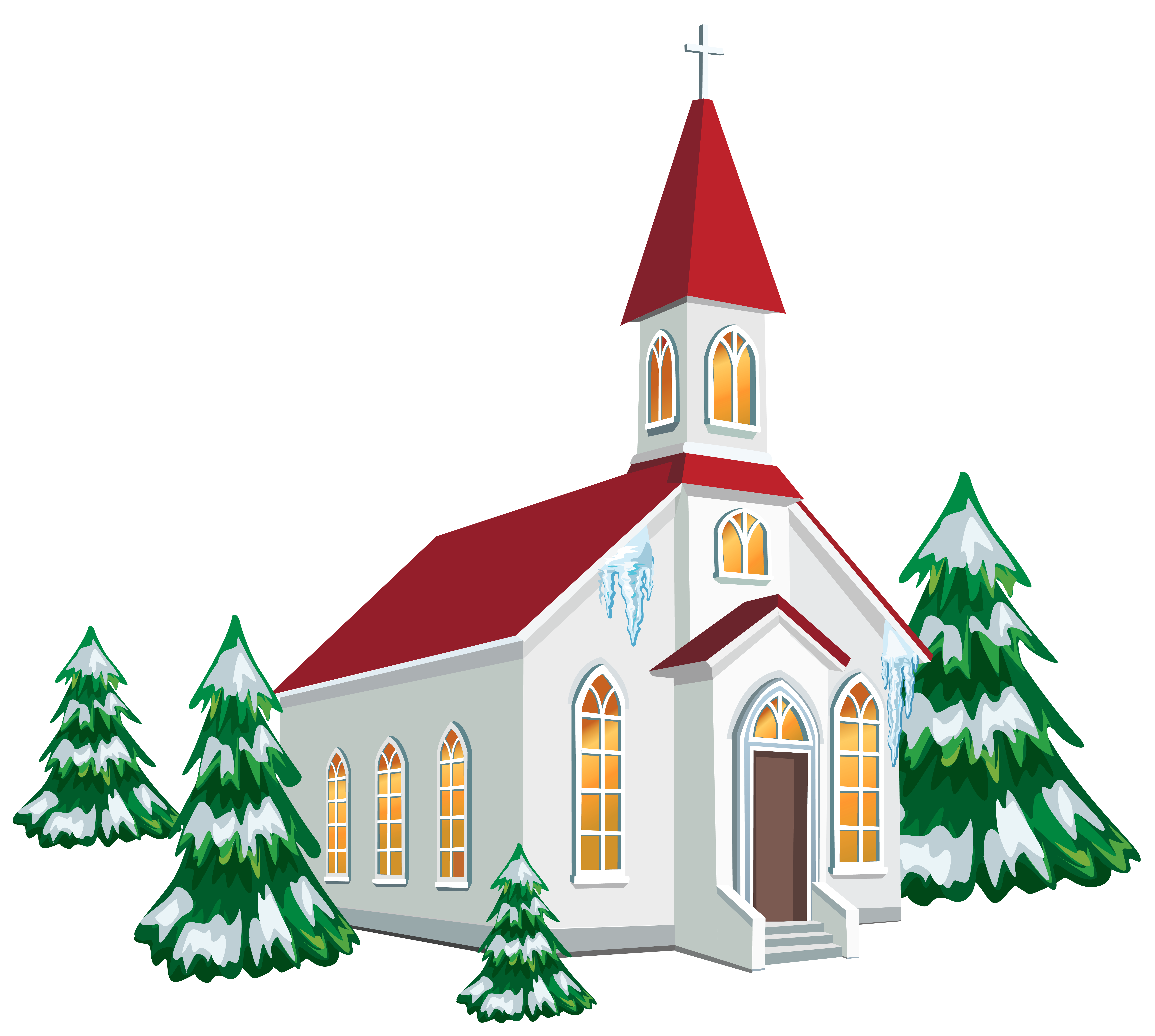 Clipart church. Winter with snow trees