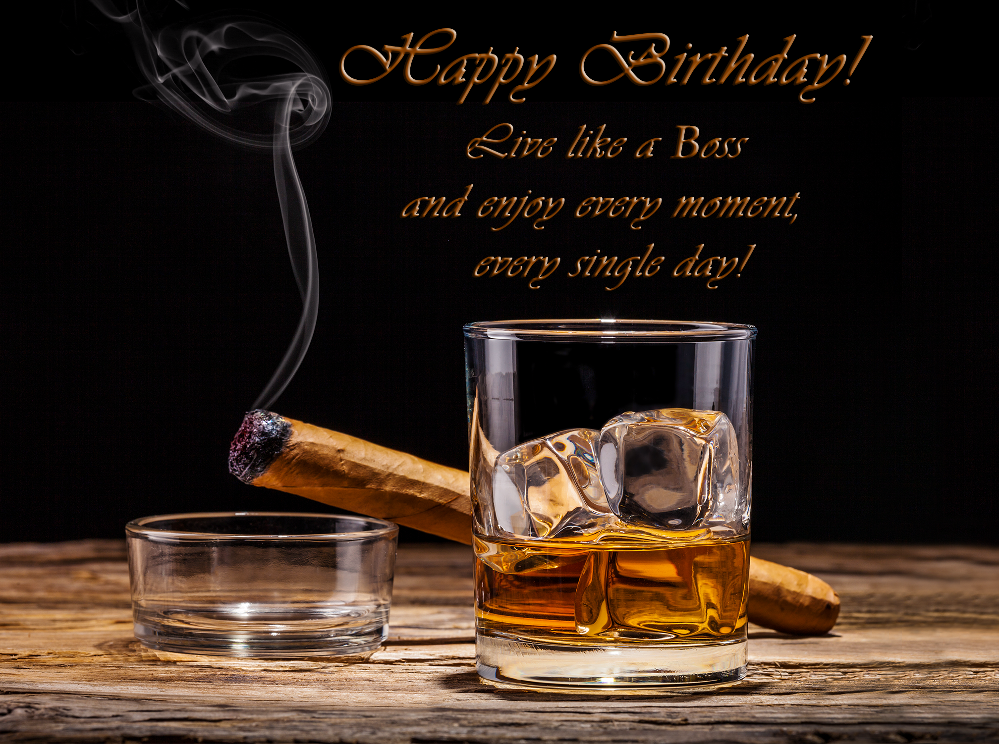 Happy birthday card with. Cigar clipart cigar whiskey