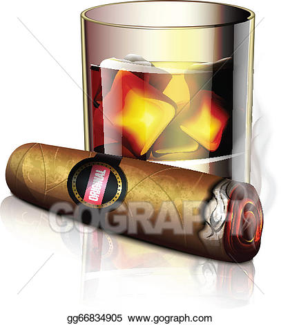 Vector illustration and icon. Cigar clipart cigar whiskey