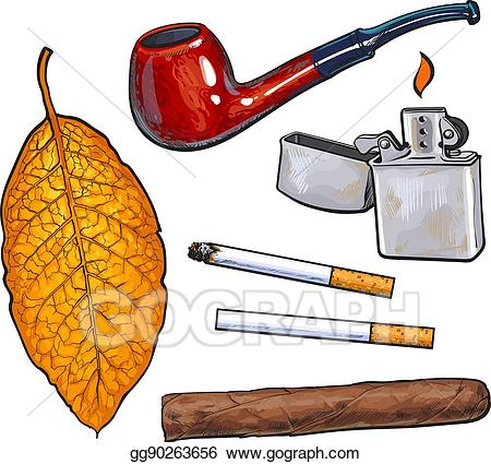 Cigar clipart cigarette. Vector sketch style smoking