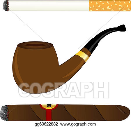 Cigar clipart cigarette. Vector art pipe and