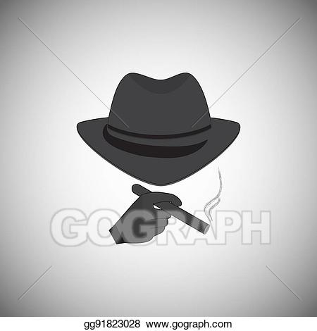 Vector art silhouette of. Cigar clipart detective