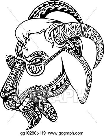 Vector art goat tribal. Cigar clipart drawing