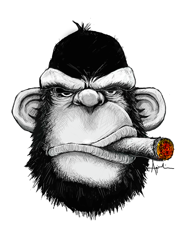 It s a monkey. Cigar clipart drawing