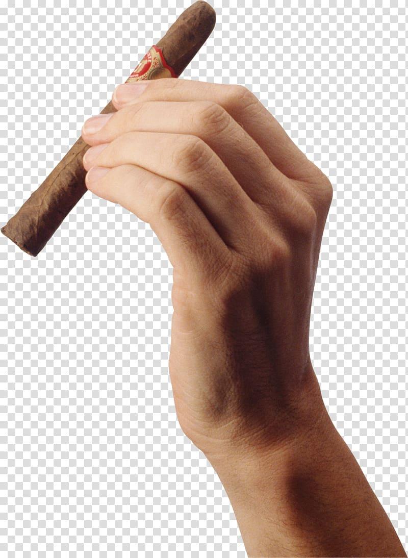 Person left tobacco cigarette. Cigar clipart hand holding