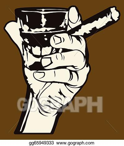 Vector illustration and whiskey. Cigar clipart hand holding