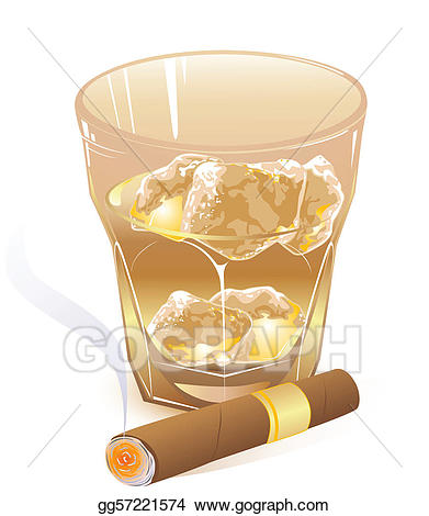Cigar clipart scotch glass. Vector illustration of whiskey