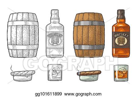 Vector art whiskey with. Cigar clipart scotch glass