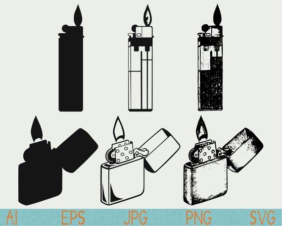 Cigarette lighter svg silhouette. Cigar clipart sketch