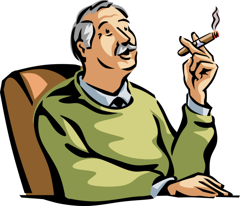 Senior citizen enjoys good. Cigar clipart vector