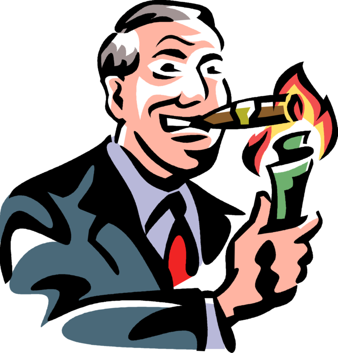 Cigar clipart vector. Fat cat capitalist lights