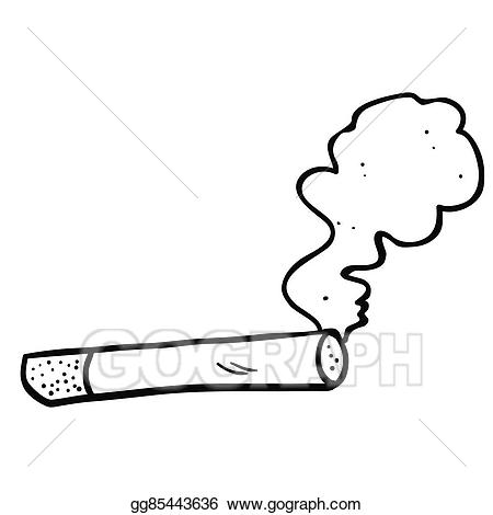 Smoking clipart black and white. Vector stock cartoon cigarette