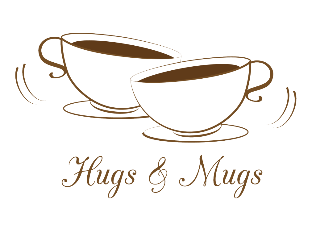 Hugs and mugs logo. Heartbeat clipart coffee