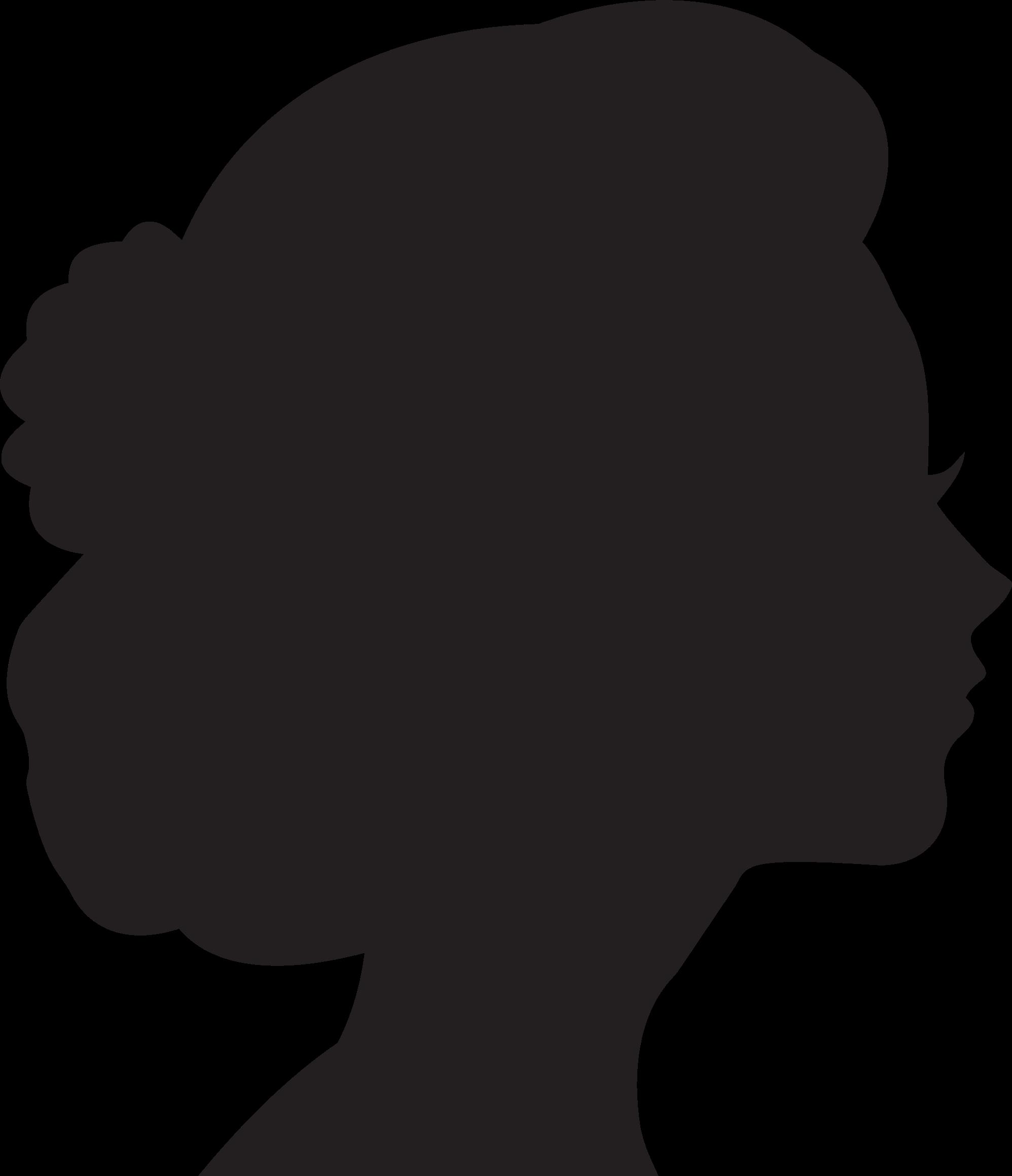 Silhouette woman head at. Neck clipart girl short hair