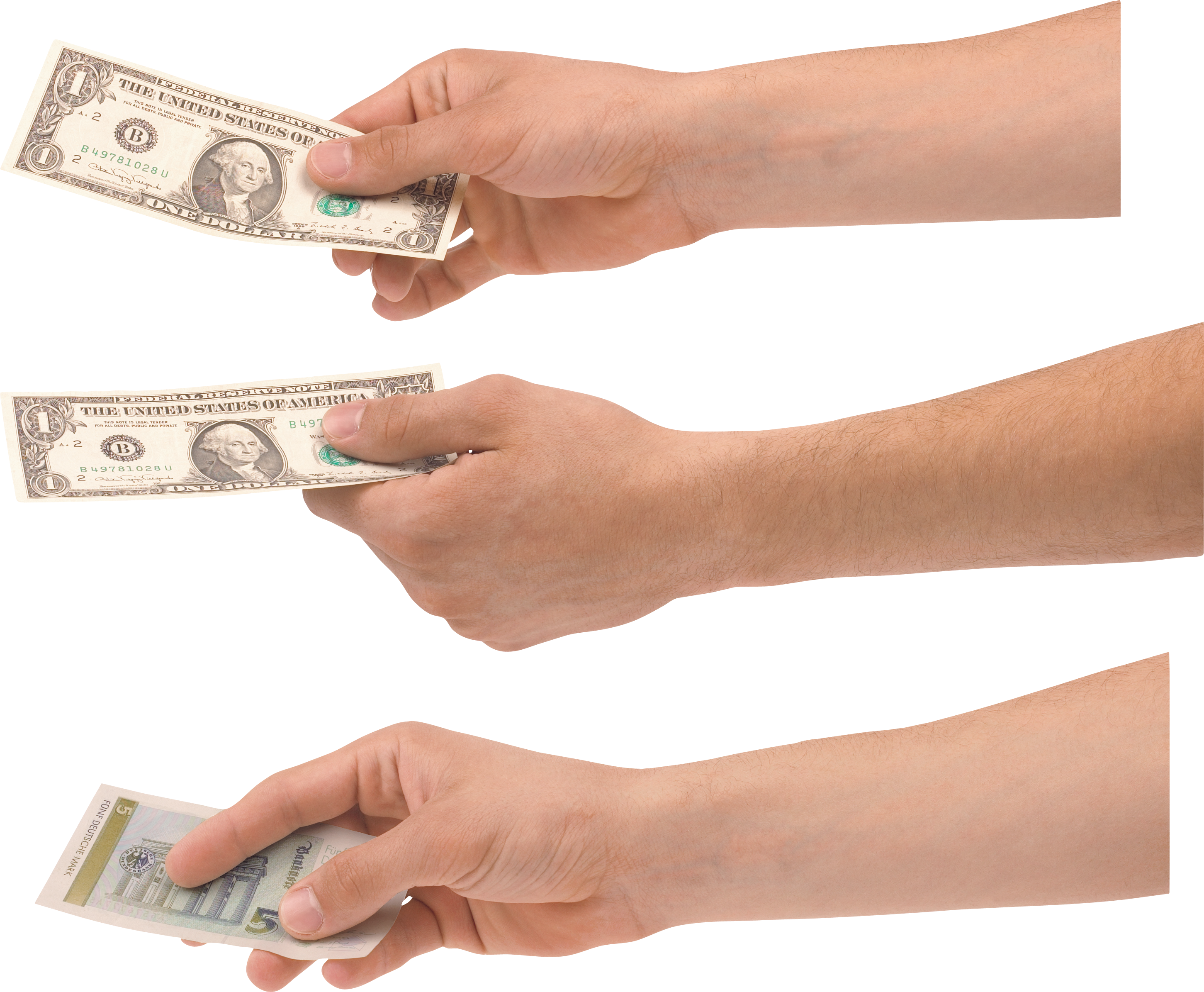 Holding one isolated stock. Hand clipart money
