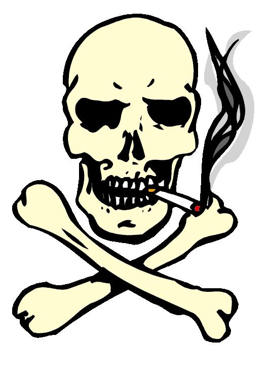 Skull of a Skeleton with Burning Cigarette Smoking Clip art