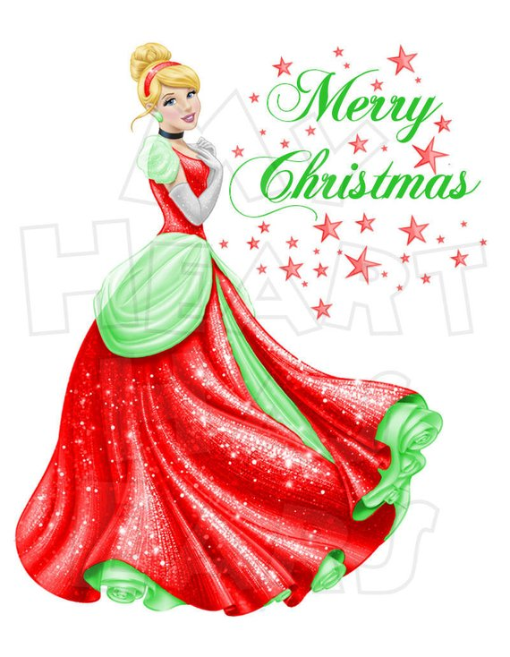 Cinderella clipart christmas. Digital iron on transfer